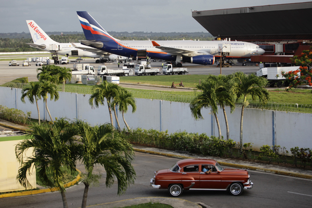 The Aeroflot aircraft for the SU150 Moscow-Havana flight is seen at Havana's Jose Marti International Airport